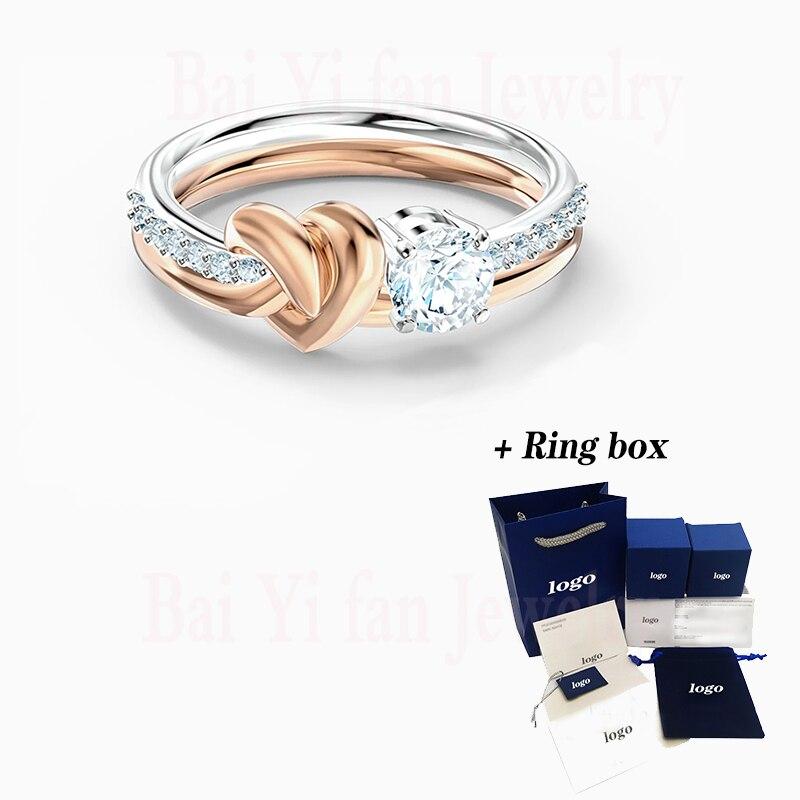 Moda jóias swa novo anel de coração ao longo da vida amor eterno agradável coração padrão de cristal feminino anel de noivado presente romântico