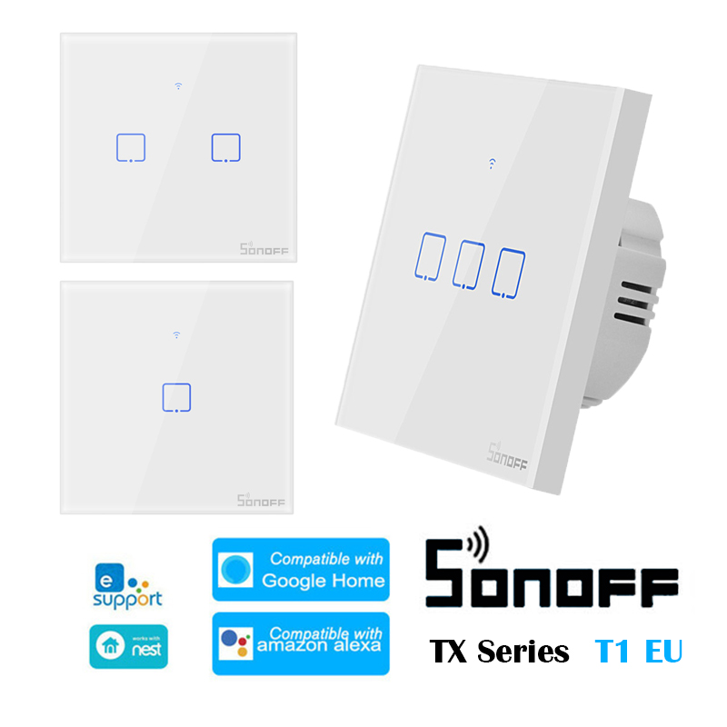SONOFF T1 EU TX-Series 433 RF Smart Home WiFi Switch Switch Support EWelink Automation Compatible With Google Home Alexa Amazon
