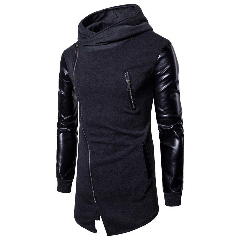 2020 New Harajuku Mens Casual Hoodie Jackets Pu Leather Patchwork Motorcycle Long Outwear Coat Zipper Irregular Rock Coats