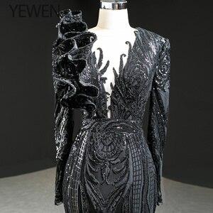 Image 5 - ดูไบสีดำ O Neck เสื้อแขนยาวชุดราตรี 2020 Mermaid Sequined ประดับด้วยลูกปัดหรูหราอย่างเป็นทางการ YEWEN 67116