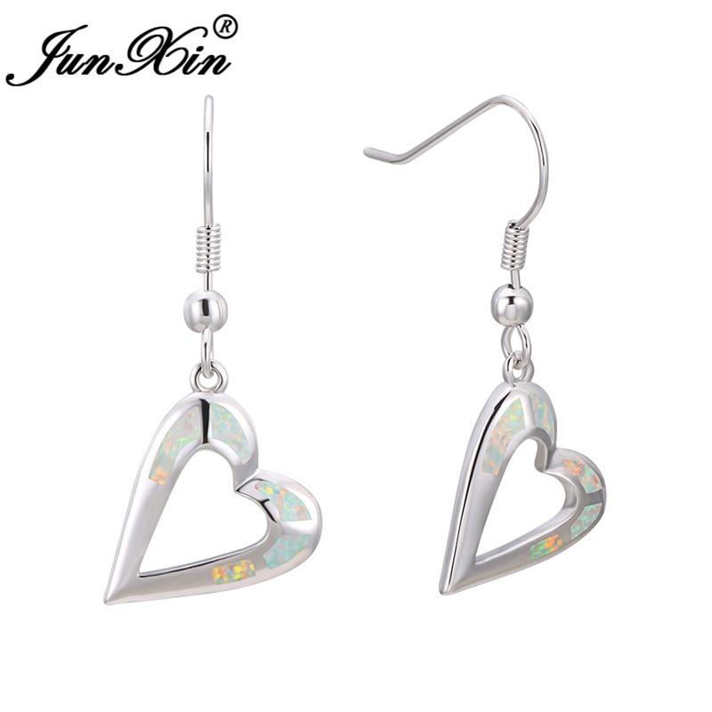 Female Big Heart Drop Earrings Boho White Blue Fire Opal Earrings For Women Bride Cute White Gold Wedding Long Dangle Earrings