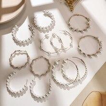 Tendencia coreana perla simulada pendientes largos de mujer perla redonda blanca boda pendientes colgantes moda joyería pendientes