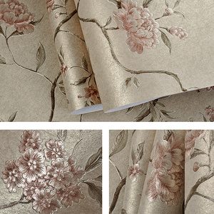 Image 5 - ירוק טורקיז פרחוני מובלט טפט לחדר שינה סלון קירות Romatic אדום פרח קיר נייר בית תפאורה בז