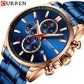 CURREN Мужские Часы повседневные спортивные часы Топ люксовый бренд синие полностью Стальные кварцевые наручные часы Хронограф военные мужск...