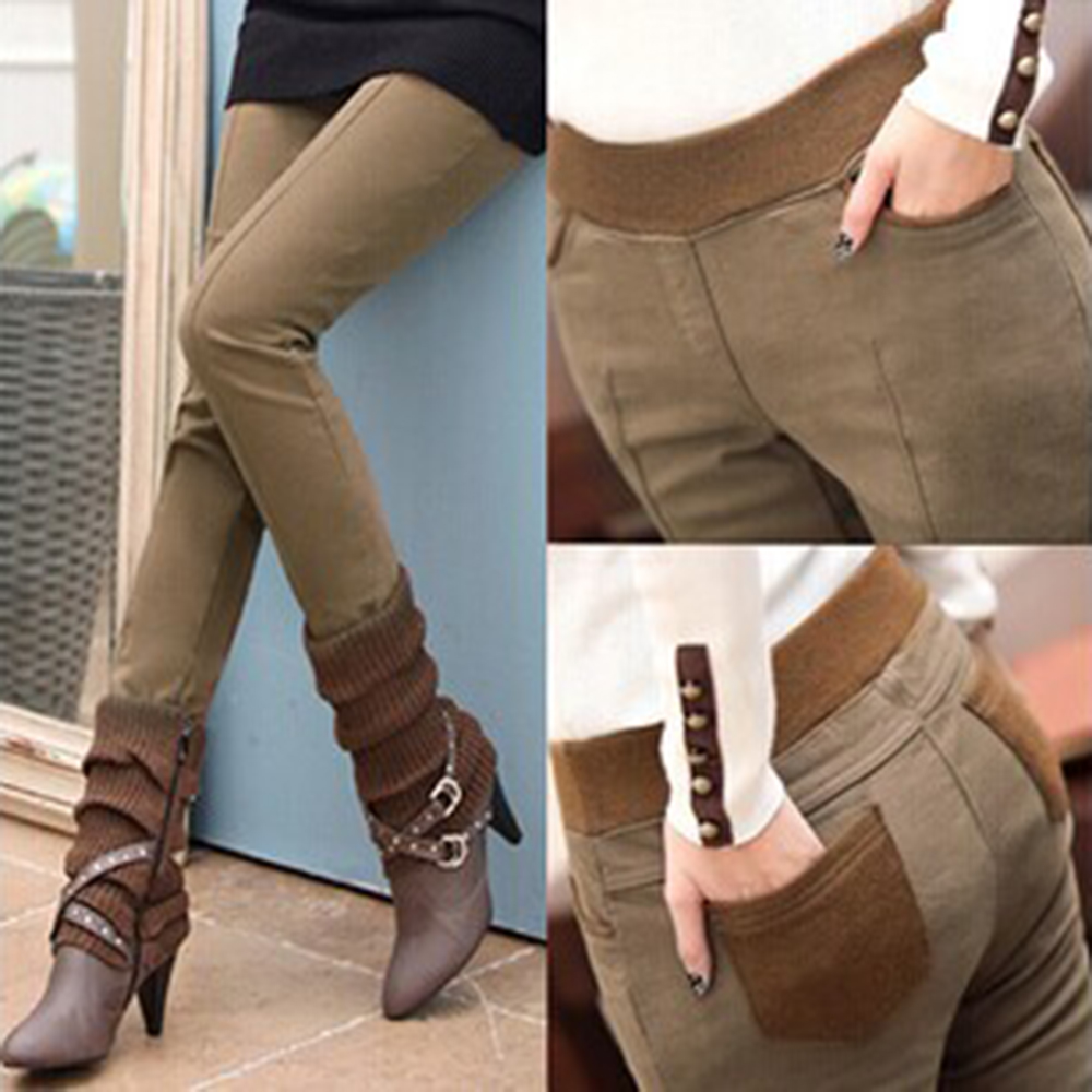 Leggings Trousers Pencil-Pants Velvet Skinny Black Thick High-Waist Winter Plus-Size