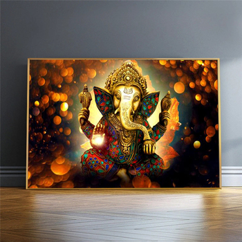 Lord Ganesha Canvas Paintings On The Wall Classical Hindu Gods Posters And Prints Hinduism Decorative Pictures For Living Room