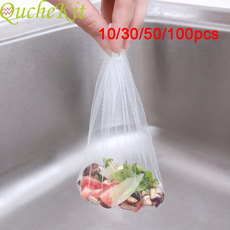 Kitchen Drains Sink Strainers Disposable Sink Strainer Mesh Bag Filter Sewer Drain Hair Trash Strainer Mesh Bathroom Kitchen Acc