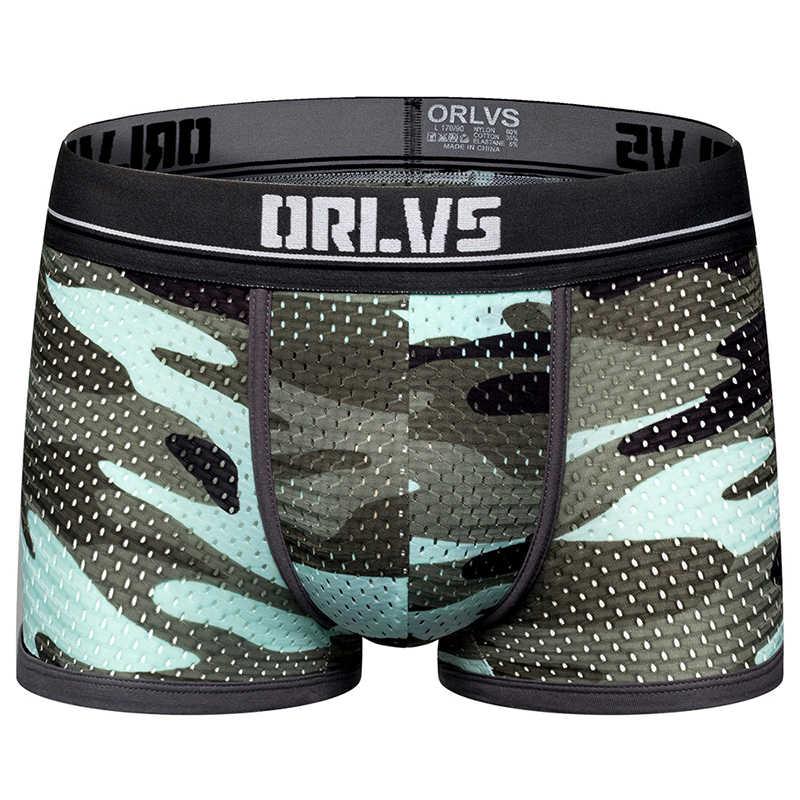 ORLVS מותג זכר תחתוני גברים סקסי מתאגרפים cueca טנגה לנשימה זכר מכנסיים גברים תחתונים מתאגרפים מכנסיים קצרים רשת calzoncillo 2019
