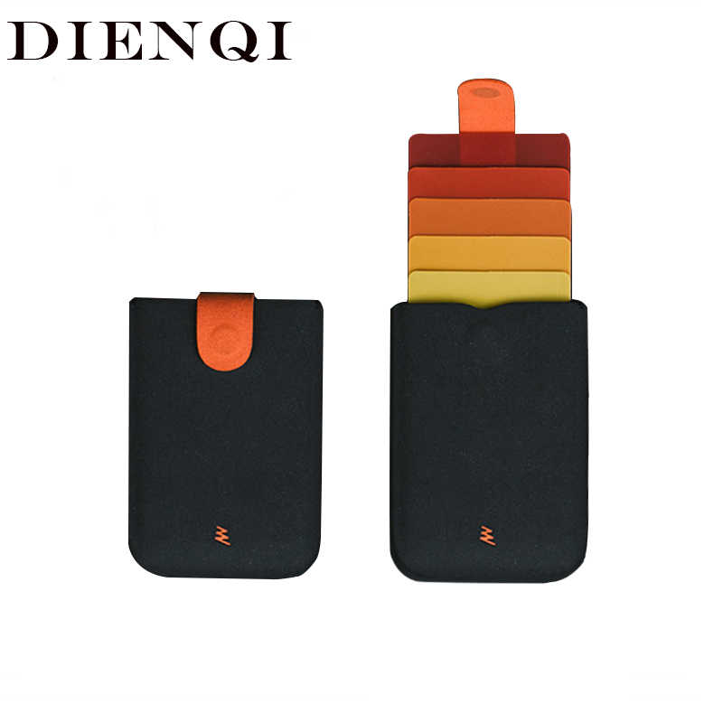 DIENQI Pull Credit Card Holder Security Wallet RFID Blocking ID Cardholder Men Male Female Card Bag Case Money Minimalist Purse