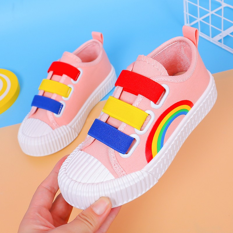 Children's Canvas Shoes 2019 New Fashion Rainbow Boys Girls Sports Casual Breathable Non-slip Soft Bottom Kids Shoes