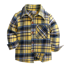 Fashoin Plaid Kids Boys Shirts Cotton Long Sleeve Bow Tie Baby Boy Shirts Spring Autumn Children Clothes 1-6 Years