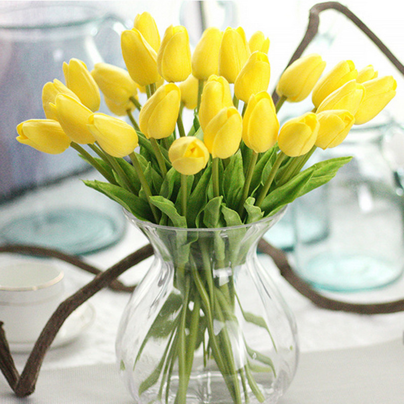 1PC PU Mini Tulips Artificial Flowers For Home And Wedding Decoration Flowers 13