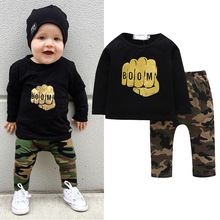 JXYSY Camouflage Newborn Baby Boy Toddler Clothes Set T Shirt Tops Long Sleeve Pants 2 piece set Cotton Outfits baby clothes1-5Y