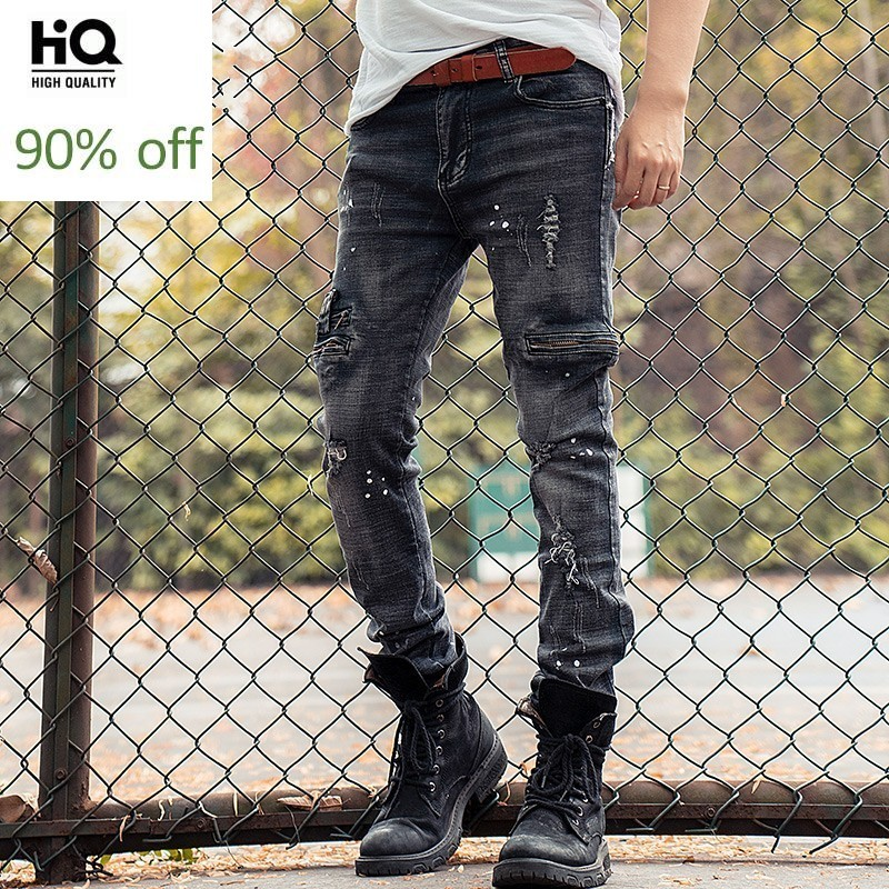 Fashion New Brand Hole Ripped Slim Fit Mens Denim Pencil Pants Full Length Moto Biker Zipper Pockets Cowboy Trousers Plus Size