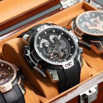Reef Tiger/RT Sport Watch with Perpetual Calendar Date Day Steel Case Black Leather Strap Mechanical Men's Watches RGA3503 1