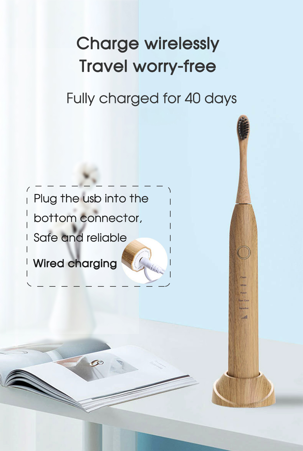 [zs] Bamboo Wood Material Electric Toothbrush Natural Environmental Friendly Reuse Intelligent Chargeable Teeth Clean Brushes