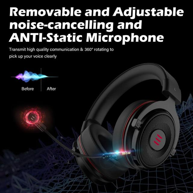 EKSA Gaming Headset Gamer E900 PRO Headset 7.1 Surround Sound Wired Headphones LED USB/3.5mm Earphones with Mic For Xbox PC PS4 4