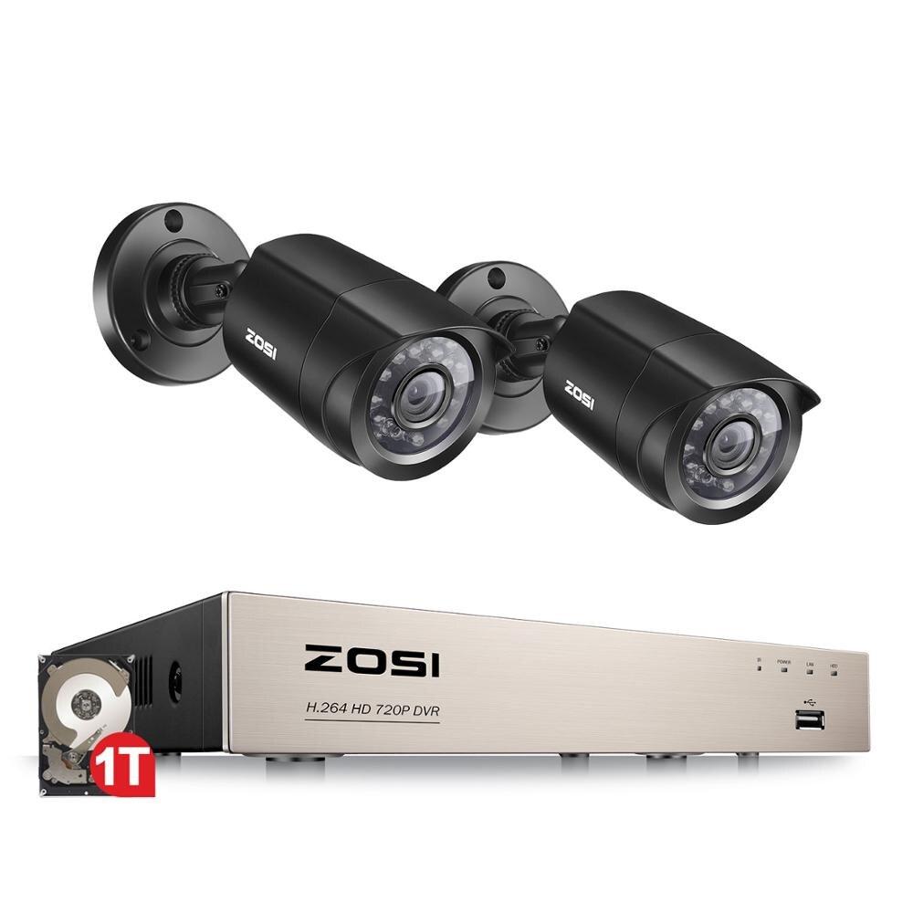 ZOSI 4CH/8CH DVR Sistema De CCTV Con 2CH 2 Uds 1,0 MP IR Cámaras De Seguridad Al Aire Libre 720P HDMI CCTV DVR 1280TVL Kit De Videovigilancia