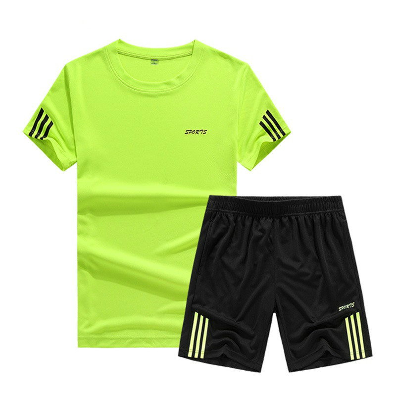 Casual Summer Tracksuit Men Short Sets Solid Stripe Tracksuit Two Piece T-shirts+Shorts Men Sportswear Jogger Slim Fit Sportsuit