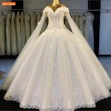 فستان زفاف رومانسي دانتيل 2020 ثوب زفاف على شكل قلب مزين بالترتر فساتين العروس طويلة مخصصة لحفلات الزفاف صور حقيقية