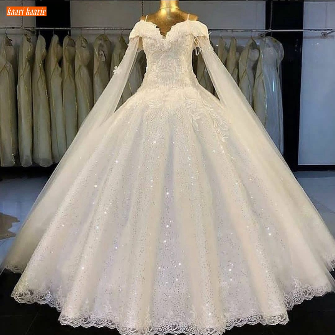 Romantic Lace Wedding Dress 2020 Sweetheart Appliqued Sequined Ball Gown Bride Dresses Long Customized Wedding Gowns Real Photos