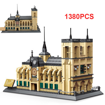 1380PCS Architecture Notre Dame Cathedral Building Blocks Model World Famous Architecture Compatible City Bricks Toys For Kids