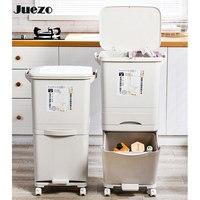 38/42l maior capacidade 2 camadas latas de lixo molhado e seco que classifica baldes verticais rodas do lixo do agregado familiar armazenamento reciclável|Cestos de lixo| |  -