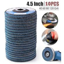 10 pces discos de aleta profissional 115mm 4.5 discos de lixamento 40/60/80/120 grit rodas de moedura lâminas para moedor de ângulo