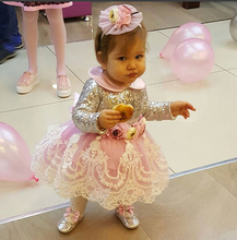 Bling sequins Long Sleeves Pink Lace Appliques flower girl dresses with Bow baby Birthday Party Dress toddler girl pageant dress fresh pink and white flower girl dresses knee length crystals rhinestones princess pageant dress with bow 1st birthday outfit