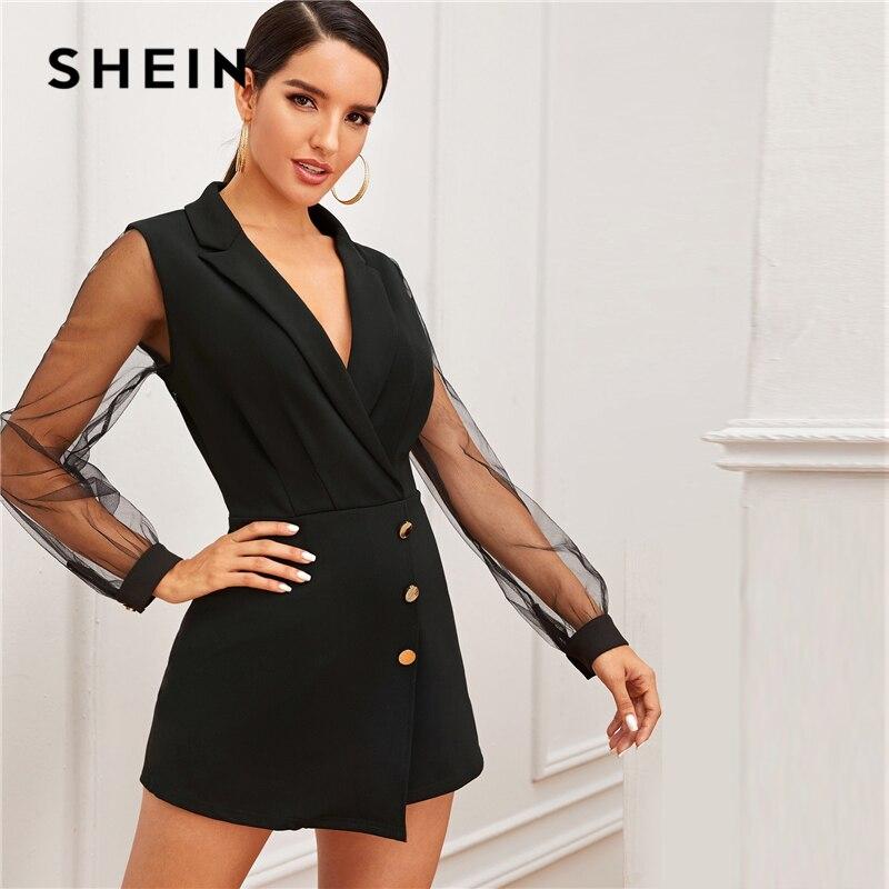 SHEIN Black Notch Collar Mesh Sleeve Button Wrap Trim Skirt Romper Women Autumn High Waist Solid Party Elegant Playsuit Rompers 2