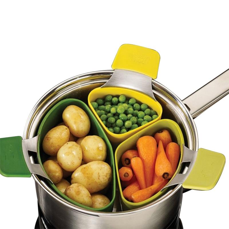 3 Pcs/Set Steamer Basket Cooker Instant Pot For Cooking Vegetable Multifunction Kitchen Accessories Cookware