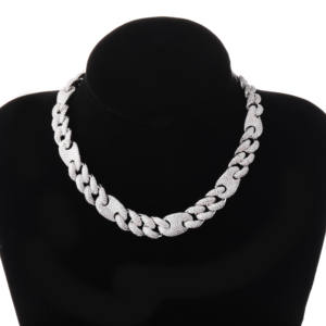 JINAO Silver Necklace Jewelry Chain Gold Cuban-Link Miami Iced-Out Hip-Hop Bling 20mm