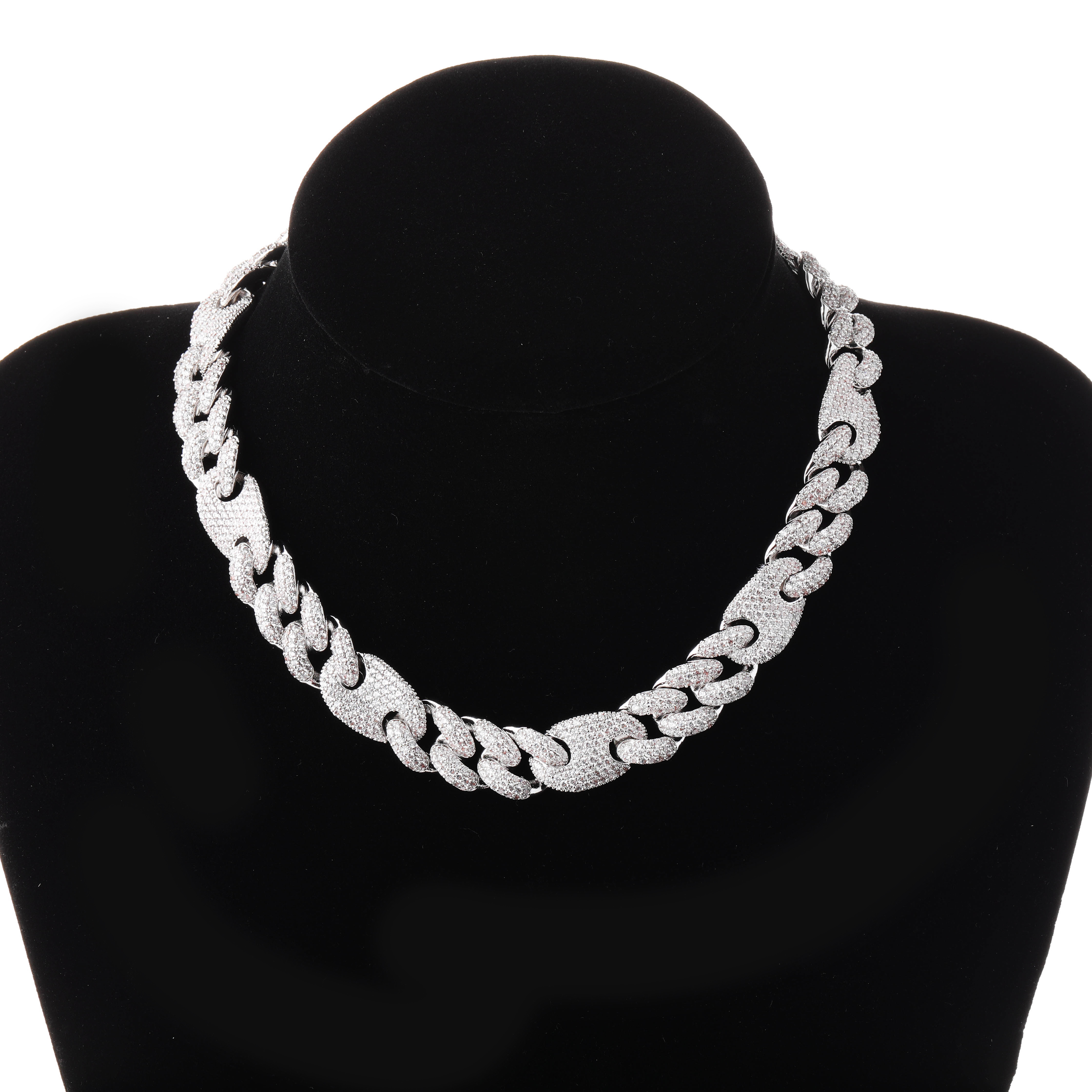 JINAO Chain Gold Necklace Jewelry Cuban-Link Hip-Hop Iced-Out Bling 20mm Cubic-Zirconia