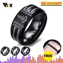 Vnox Men's Rudder and Anchor Ring Cool Black Stainless Steel Wia Rings for Men Jewelry