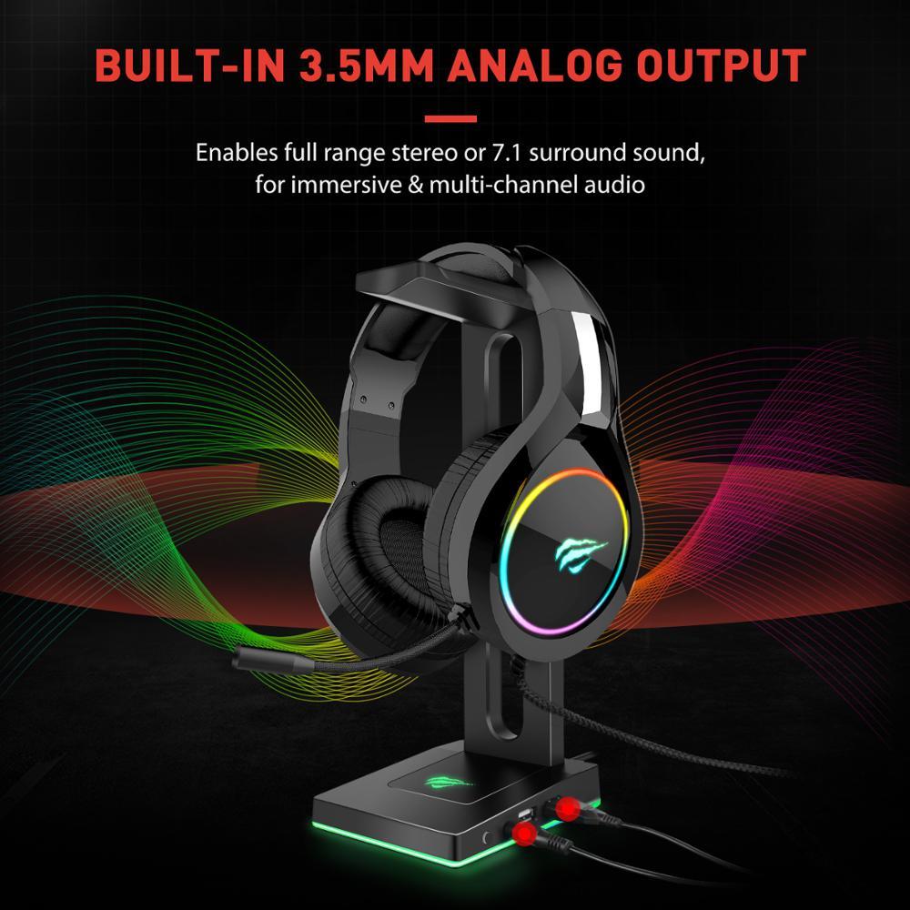 Havit TH630 RGB ausinių stovas su 3,5 mm AUX ir 2 USB jungtimis, - Nešiojami garso ir vaizdo įrašai - Nuotrauka 4