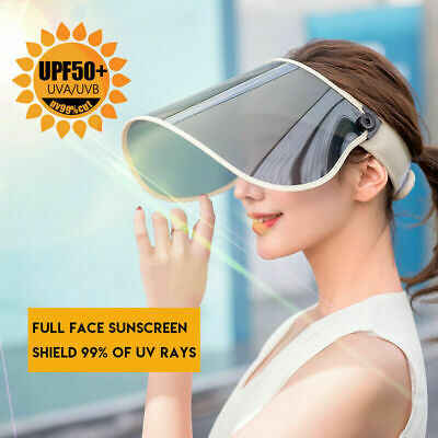 Outdoor Sport Flip Up UV Protection Sun Visor Full Face Head PVC Shield Cover Protective Hat Cap