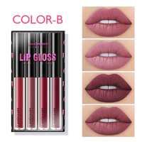 4PCS Lip Gloss Sets Long Lasting Moisturizing Waterproof Non-stick Cup Lip Glaze Lipstick Fashion Matte Lip Gloss Lips Makeup 3