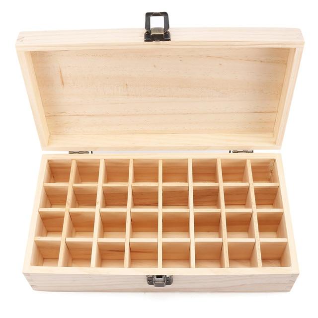 32 grilles en bois huile essentielle boîte de rangement étui support conteneur organisateur mallette de transport aromathérapie conteneur Kits de toilette