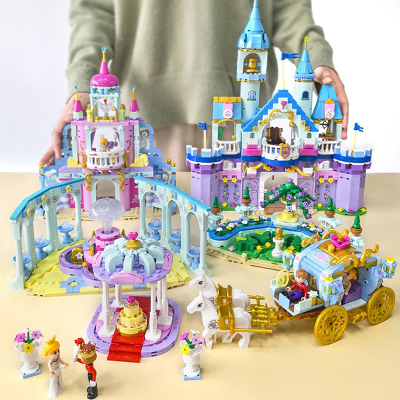 Building Blocks Fit Legoingly 540Pcs Disneyes Series Castle Of Princess Royal Garden With Figures MOC Model Toys For Girls Gifts