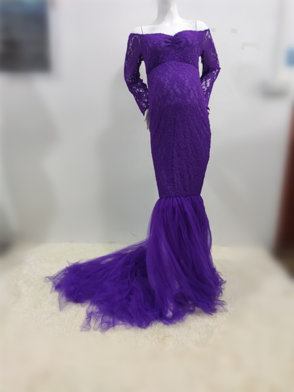 Elegence Maternity Photography Props Dresses Lace Mesh Long Pregnancy Dress For Pregnant Women Maxi Maternity Gown Photo Shoots (8)