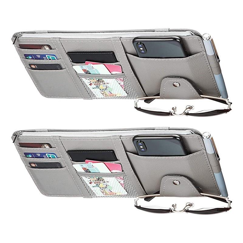 Car Styling Visor Organizer Auto Sun Visor Storage Pouch Car Organizer Sunglasses Holder Card Organizer Ticket Pocket Pen Holder