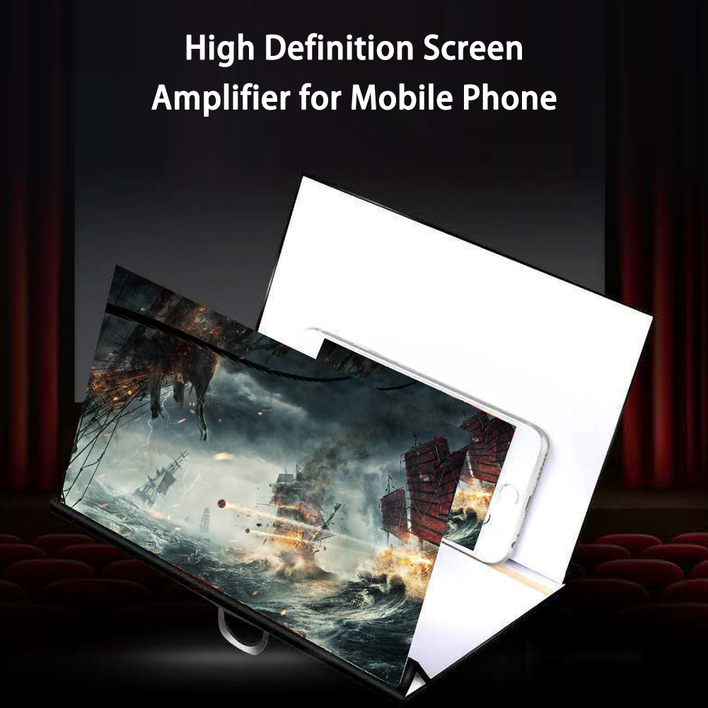Foldable Phone Screen Magnifier Cellphone Projector Amplifier Mobile Bracket Desktop Holder 3D HD Movie Video Stand image