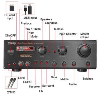 Усилитель мощности SUNBUCK AV-502BT, количество каналов: 7 (6.1), USB, FM 2