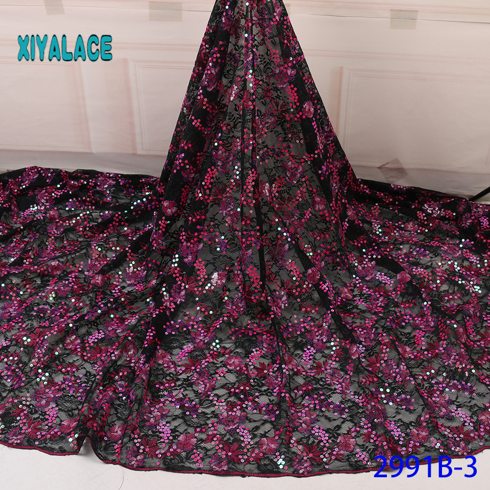 African Lace Fabric Sequins Lace Fabric Organza Nigerian Net Laces Fabric Bridal High Quality French Tulle YA2991B-3