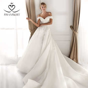 Off Shoulder Satin Wedding Dress 2019 Swanskirt Sweetheart A-Line Chapel Train Bride gown Princess Size Vestido de Noiva NZ35 - DISCOUNT ITEM  29% OFF All Category