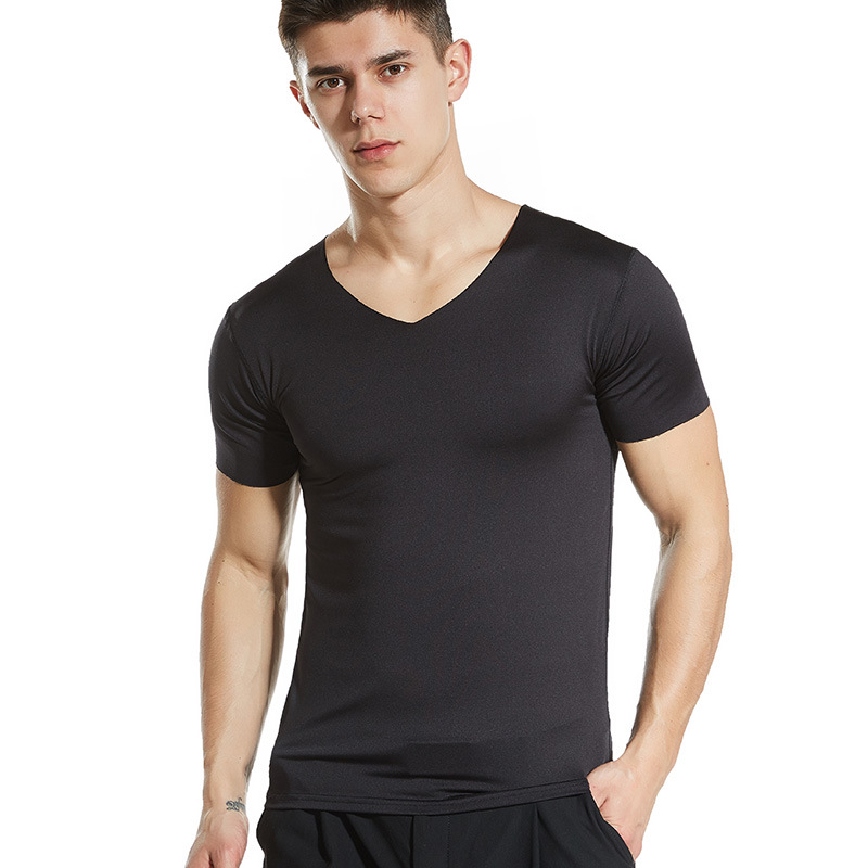 2020 Brand New Men T Shirt Tops V Neck Short Sleeve Tees Men's Fashion Fitness Hot T-shirt For Male Free Shipping Size 4XL