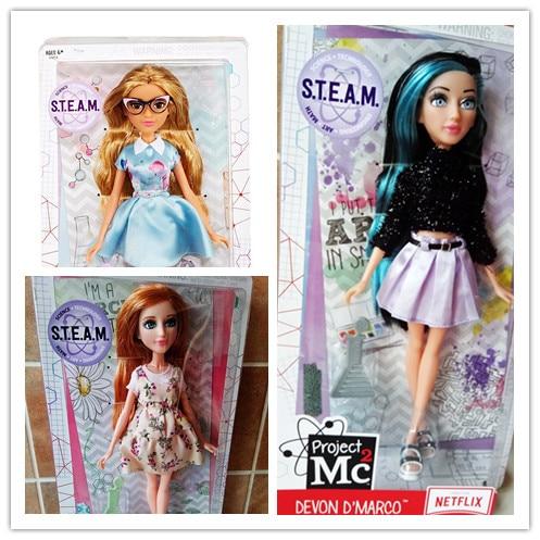 28cm Genuine Project Mc2 Core Doll Glass Eyes Dress Up Doll Plastic Dolls Christmas Gift Doll Toys For Children Girls