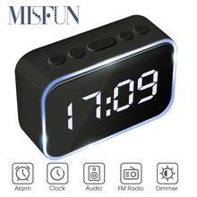 MISFUN LED 디지털 디스플레이 무선 블루투스 스피커 알람 시계 12W 휴대용 스테레오 서브 우퍼 HiFi 스피커