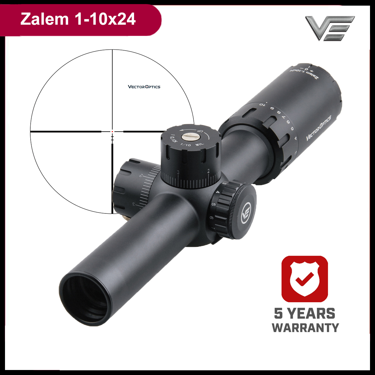 Vector Optics Zalem 1-10x24 10x Zoom Tactical Rifle Scope With BDC ASR 1/10MIL For AR15 308Win Close Mid-Range Shooting Hunting