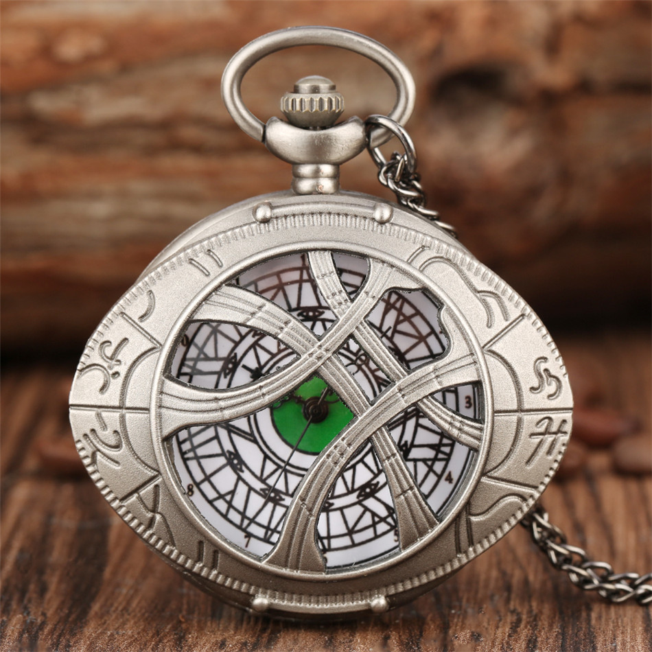 Eye Shaped Doctor Theme Quartz Pocket Watch Retro Grey Necklace Watch Gifts For Children Men Women Punk Fashion Pendant Watches